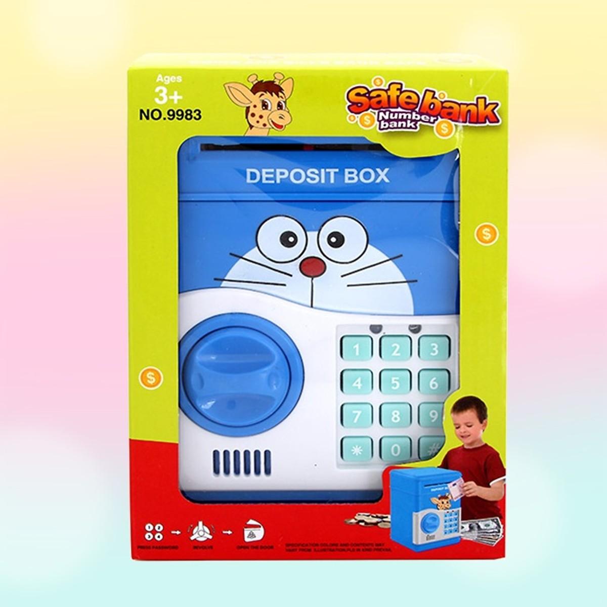 Két Sắt Mini Đựng Tiền Thông Minh Mở Bằng Mật Mã Hình Doraemon